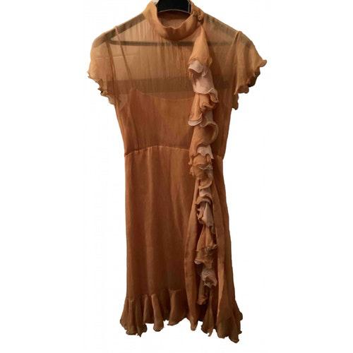 Luisa Beccaria Orange Silk Dress
