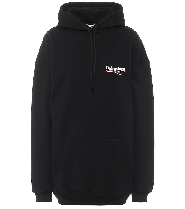 Balenciaga Oversized Printed French Cotton-terry Hoodie In Black