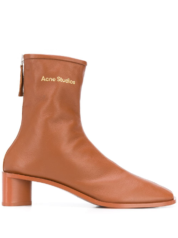 Acne Studios Bertine Back-zip Stretch-leather Ankle Boots In Brown