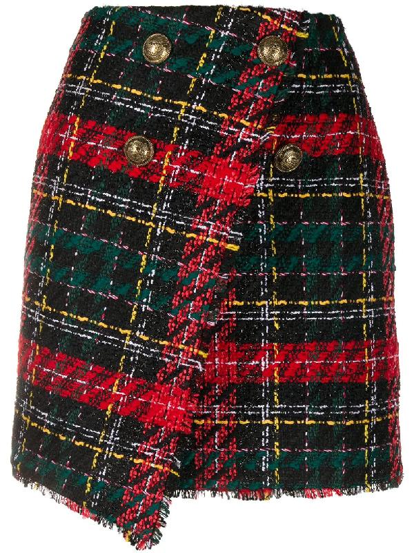 Balmain High-rise Buttoned Tweed Mini Skirt In Black