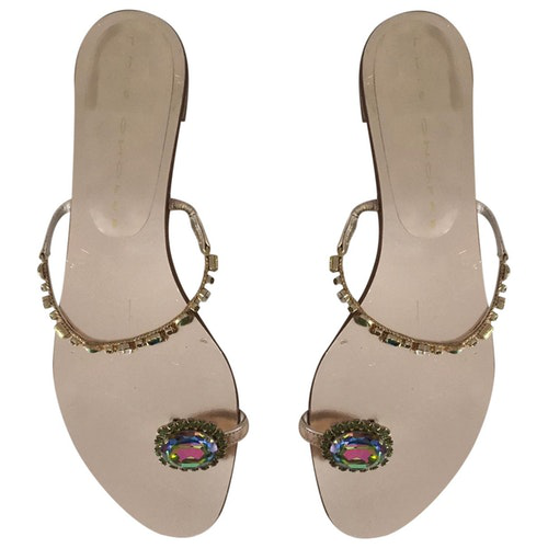 Luis Onofre Gold Leather Flats