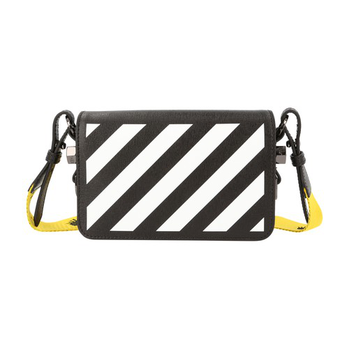 Off-white Borsa Mini Diag Flap In Pelle In Black/white