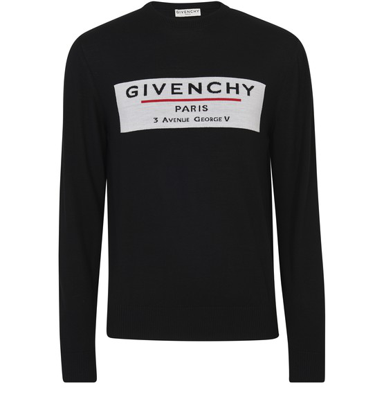 Givenchy Logo Intarsia Worsted Wool Sweater In Black