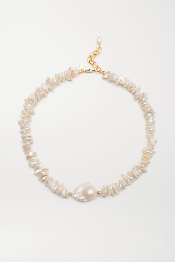 Eliou Pommeline Gold-plated Pearl Necklace In White