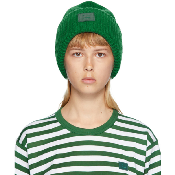 Acne Studios Green Rib Knit Patch Beanie In Deep Green