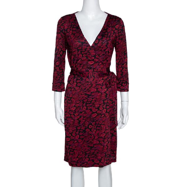 Diane Von Furstenberg Red Silk New Julian Two Wrap Dress M
