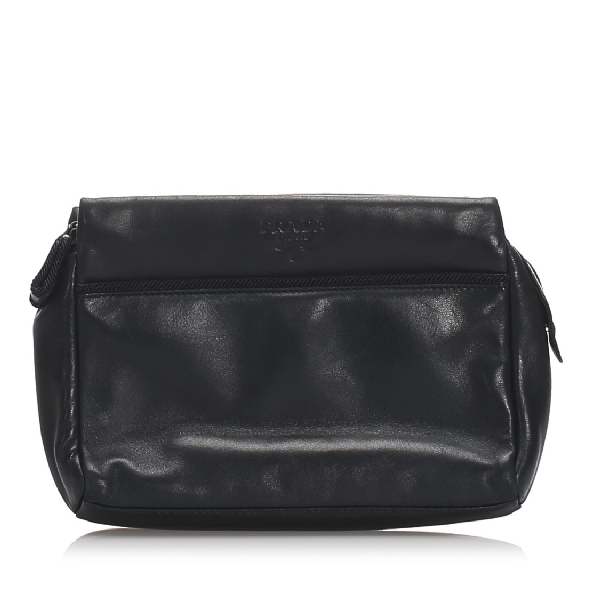 Prada Leather Clutch In Black