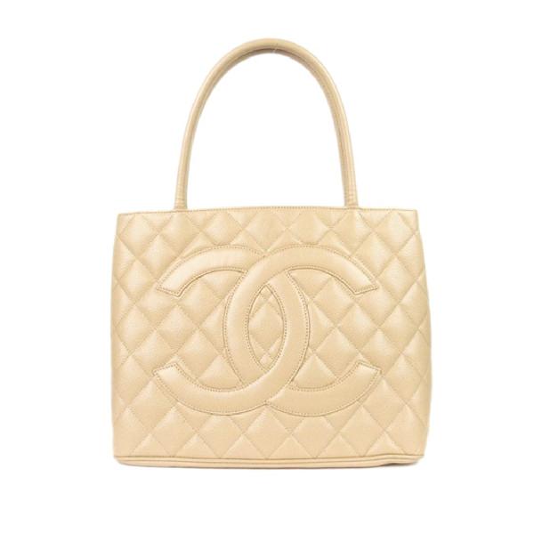 Chanel Caviar Medallion Tote Bag In Neutrals