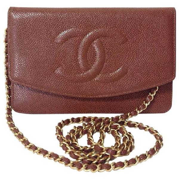 Chanel Brown Caviar Clutch Bag