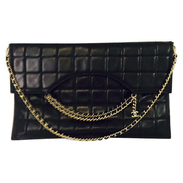 Chanel Coveted  Box Quilted Fold Down Envelope Clutch Bag W/multiple Chains In Black