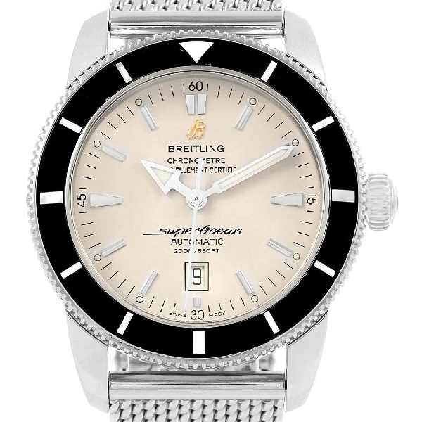 Breitling Superocean Heritage 46 Silver Dial Mesh Bracelet Watch A17320 In Not Applicable