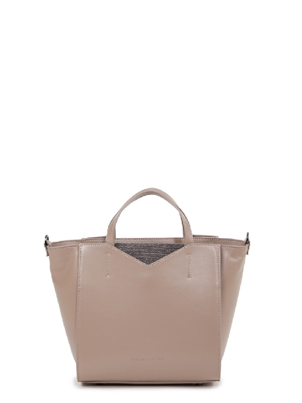 Fabiana Filippi Small Handbag With Pearl Details Beige In Pink
