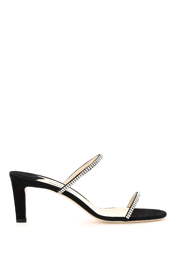 Jimmy Choo Brea Mules 65 With Crystals In Black