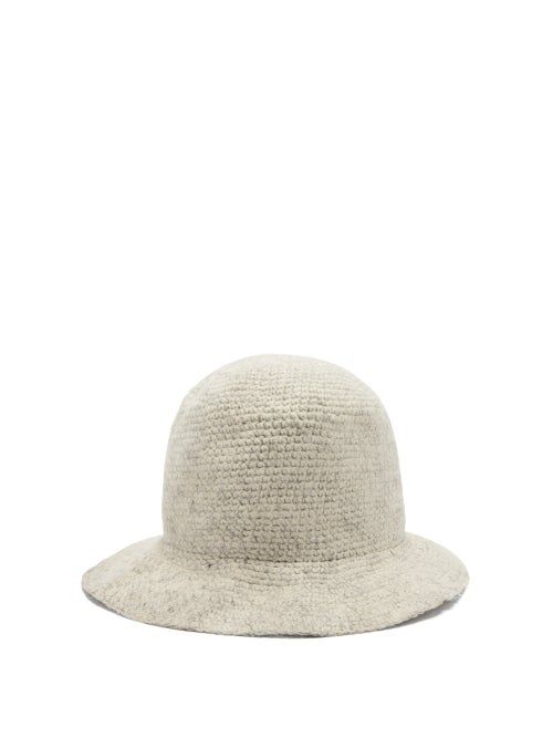 Reinhard Plank Hats Knitted Wool Bucket Hat In White