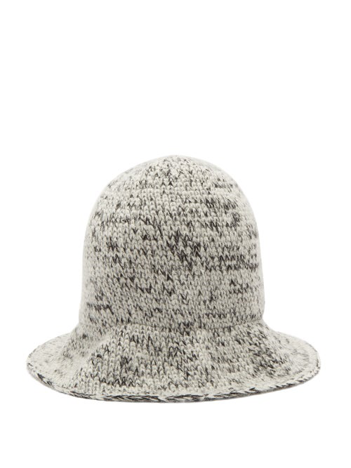 Reinhard Plank Hats Elongated Wool Bucket Hat In Black And White