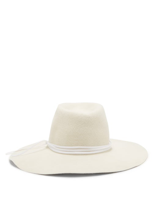 Reinhard Plank Hats Tie-embellished Felt Hat In White