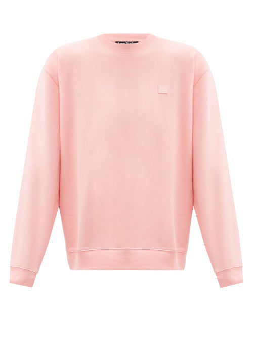 Acne Studios Fairview Oversized Face Embroidered Sweater In Pink In Pale Pink