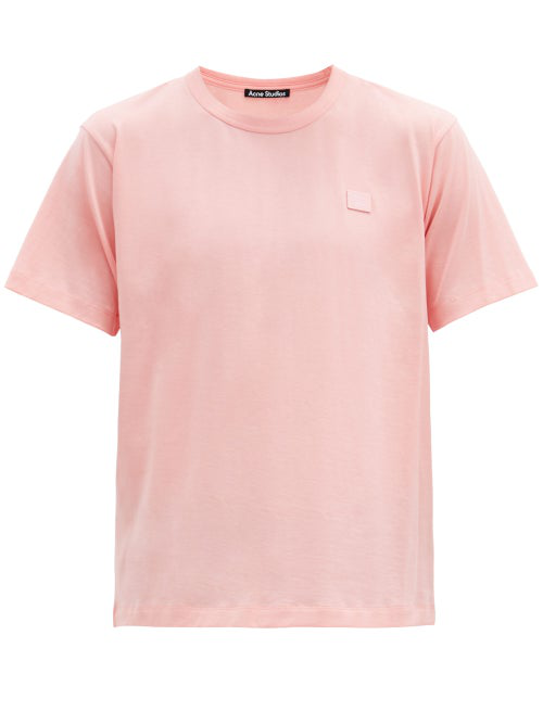 Acne Studios Nash Face Logo-appliquÉ Organic-cotton T-shirt In Pink