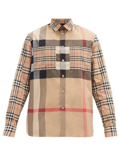 Burberry Patchwork Check Stretch Cotton Shirt Tisford Arc. Beige In Neutrals