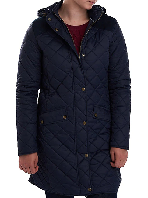 Barbour Burne Quilted Hooded Longline Jacket In Navy