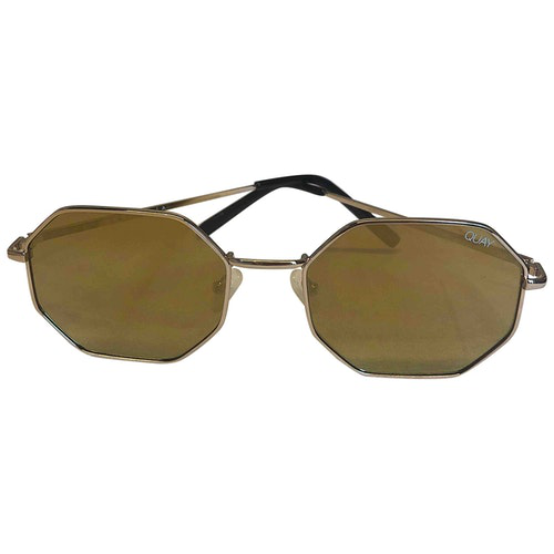 Quay Yellow Metal Sunglasses