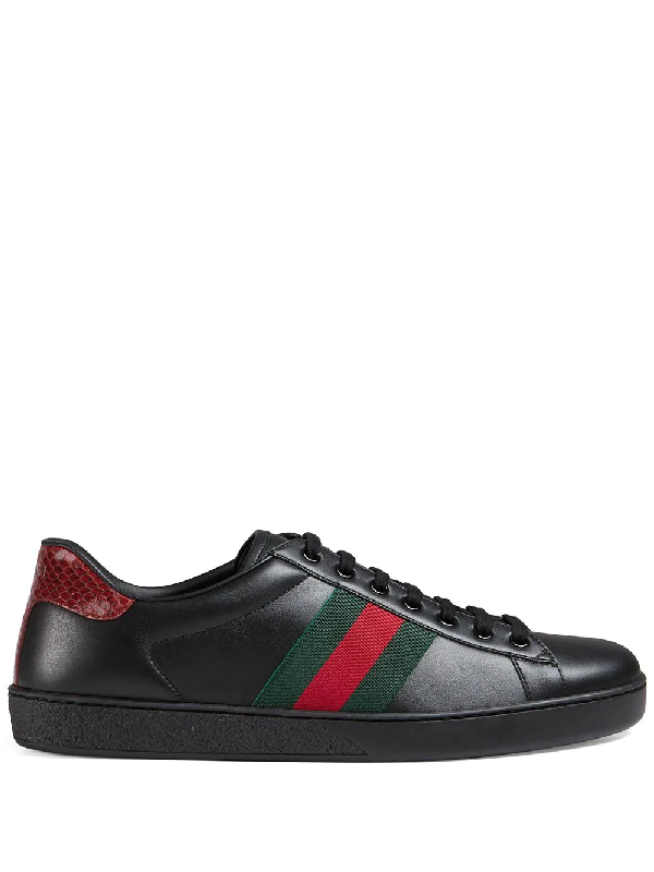 Gucci Ace Watersnake-trimmed Leather Sneakers In Black