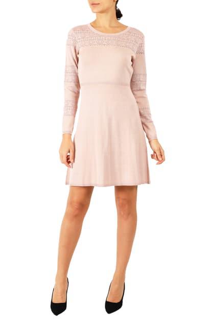 Julia Jordan Long Sleeve Sweater Dress In Blush