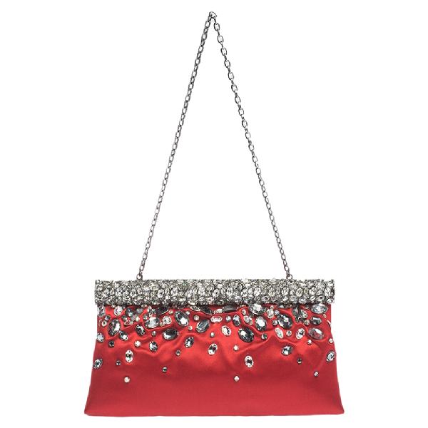 Valentino Garavani Red Satin Crystal-embellished Frame Clutch