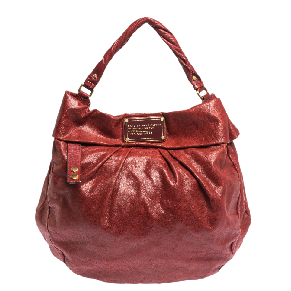 Marc By Marc Jacobs Red Glaze Leather Classic Q Hillier Hobo