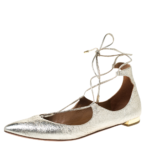 Aquazzura Gold Foil Leather Christy Lace Up Pointed Toe Flats Size 38 In Metallic