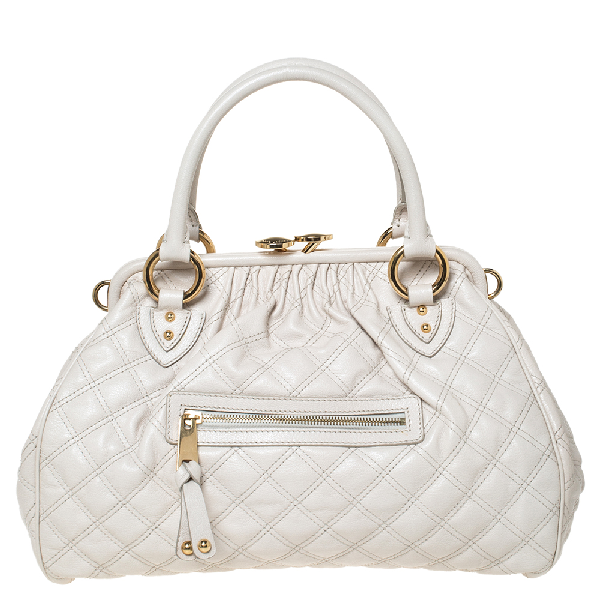 Marc Jacobs Ivory Quilted Leather Stam Satchel In White