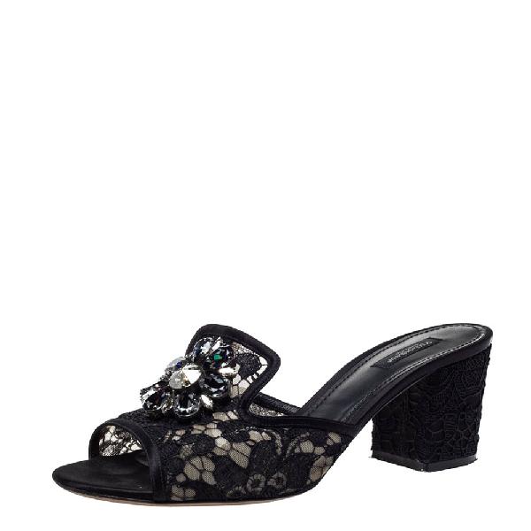 Dolce & Gabbana Black Lace Bianca Open Toe Sandals 41