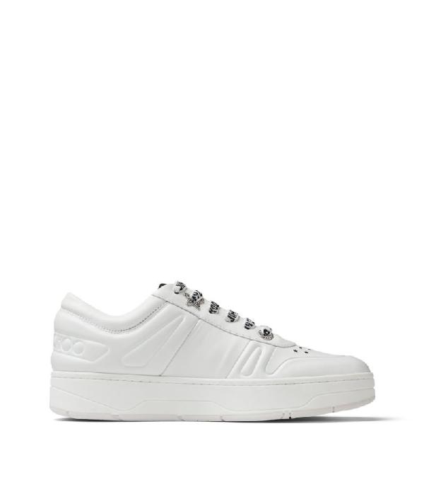 Jimmy Choo Leather Hawaii Sneakers In White
