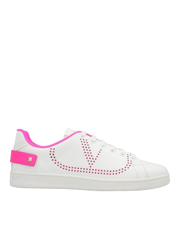 Valentino Garavani Blancknet Sneakers In White And Fuchsia In Pink
