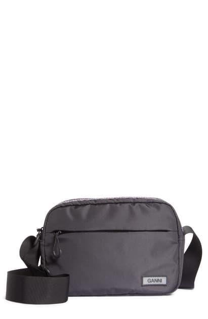 Ganni Camera Crossbody Bag In Black
