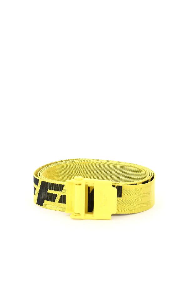 Off-white Industrial 2.0 Mini Logo-jacquard Belt In Yellow