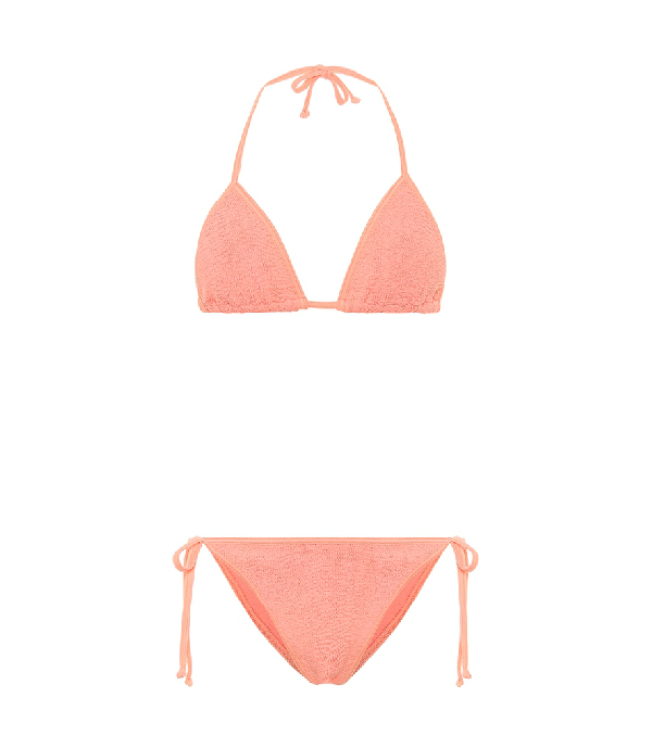 Hunza G Exclusive To Mytheresa - Carmen Crinkle Triangle Bikini In Orange