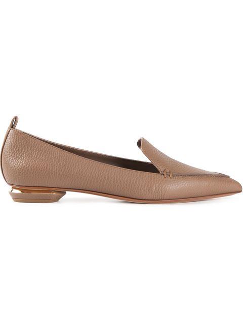Nicholas Kirkwood Beya Pebbled Leather Point-toe Loafers In Light Pink