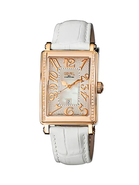 Gevril Mezzo Rectangle Goldtone Stainless Steel Diamond Leather Strap Watch