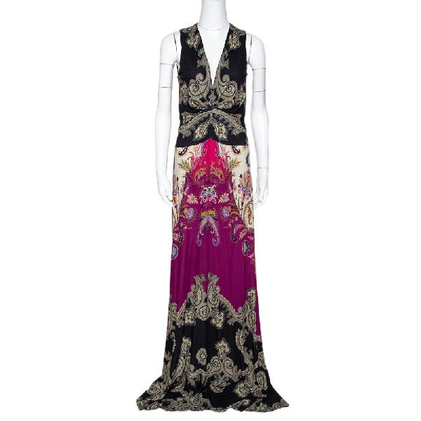 Etro Black & Purple Paisley Print Knit Sleeveless Maxi Dress L