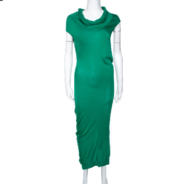Alexander Mcqueen Green Knit Turtle Neck Fitted Dress L