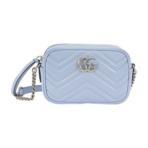 Gucci Gg Marmont Mini Crossbody Bag In Light Blue