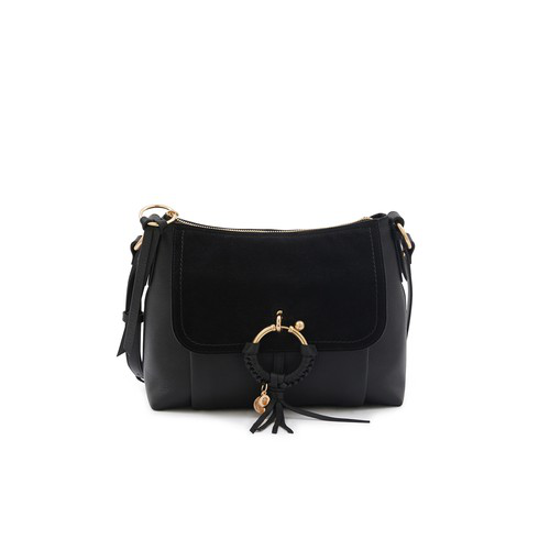 See By ChloÉ Leather And Suede Joan Shoulder Bag In Black