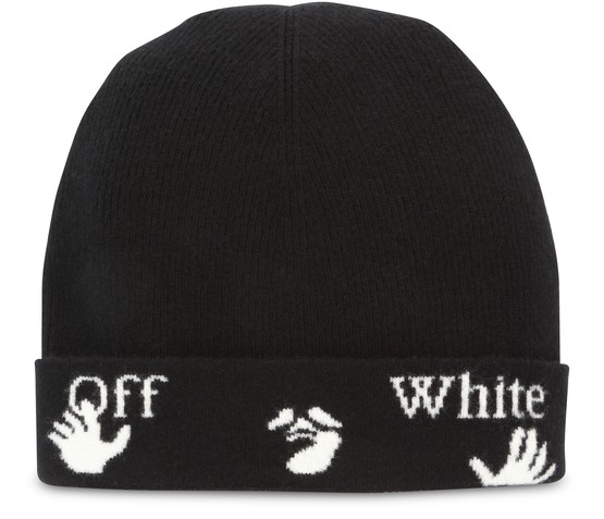 Off-white Felted Wool Beanie Hat Black White