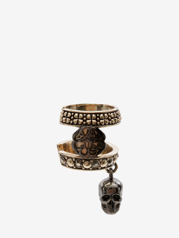 Alexander Mcqueen Skull And Charm Seal Ear Cuff In Gold