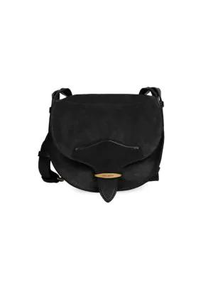 Isabel Marant Botsy Leather-trimmed Suede Saddle Bag In Black