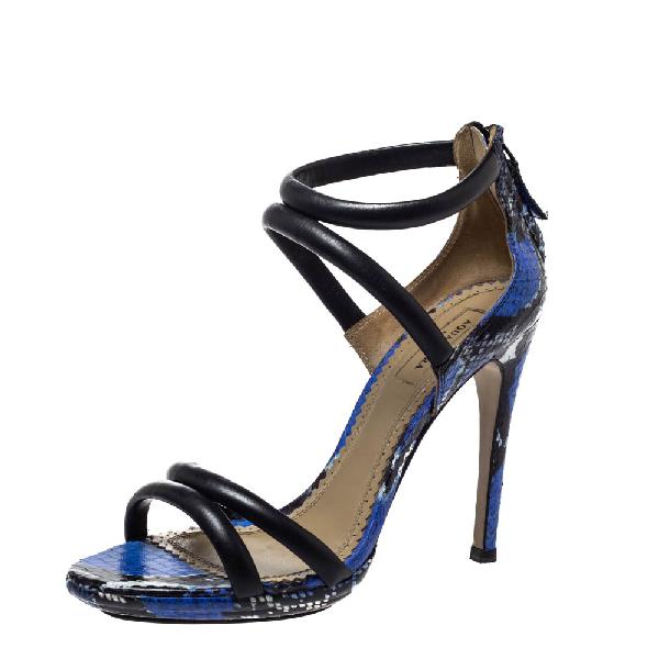 Aquazzura Black/blue Leather And Snakeskin Cheeta Strappy Sandals Size 37