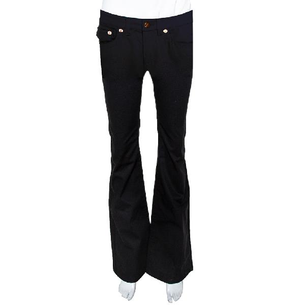 Roberto Cavalli Black Stretch Cotton Flared Pants S