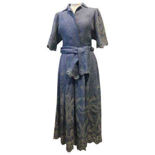 Luisa Beccaria Blue Linen Dress