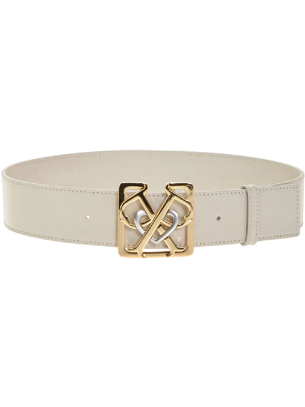 Pinko Double Logo Plaque Belt In White